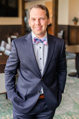groom smiling Kent Country Club Wedding Grand Rapids