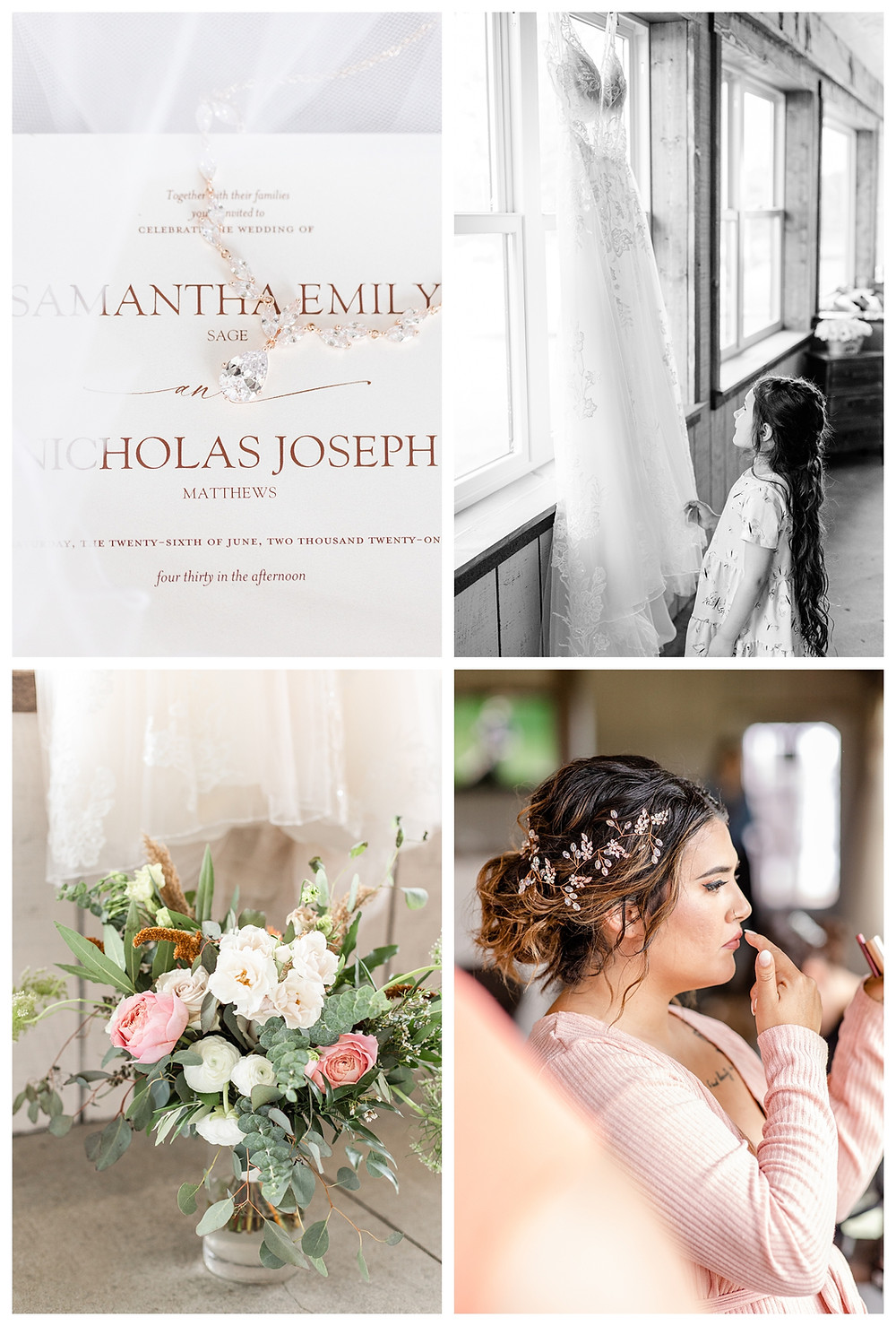Josh and Andrea wedding photography husband and wife photographer team michigan pictures photo shoot farm barn spring bride and groom farm barn invitation suite dress florals
