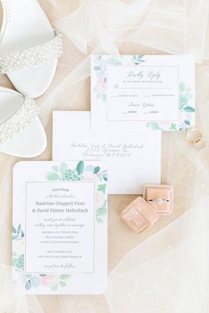 wedding invitation suite detail photo flat lay Kent Country Club Wedding Grand Rapids