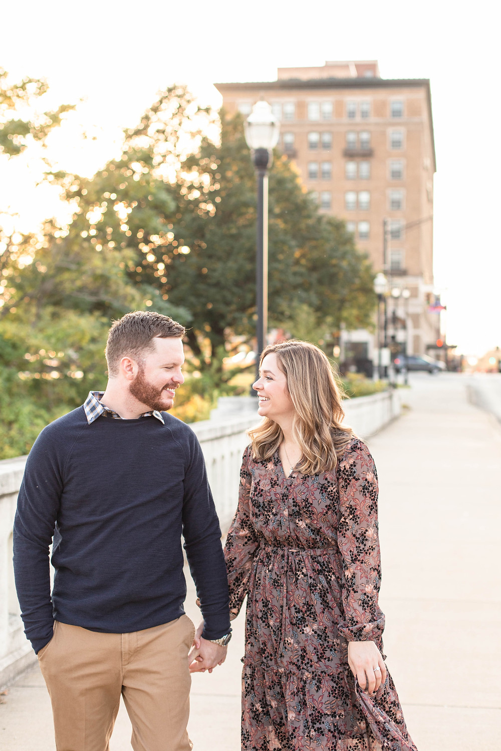 Josh and Andrea photography engagement photos south bend Indiana cute couple smiling walking