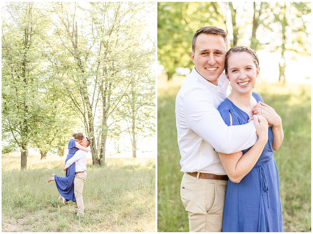 Josh and Andrea wedding photography husband and wife photographer team michigan pictures south haven engagement pictures session fields and woods photo shoot fiance lift smiling