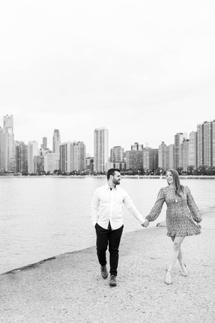 Josh and Andrea Photography Cute couple Chicago walking smiling