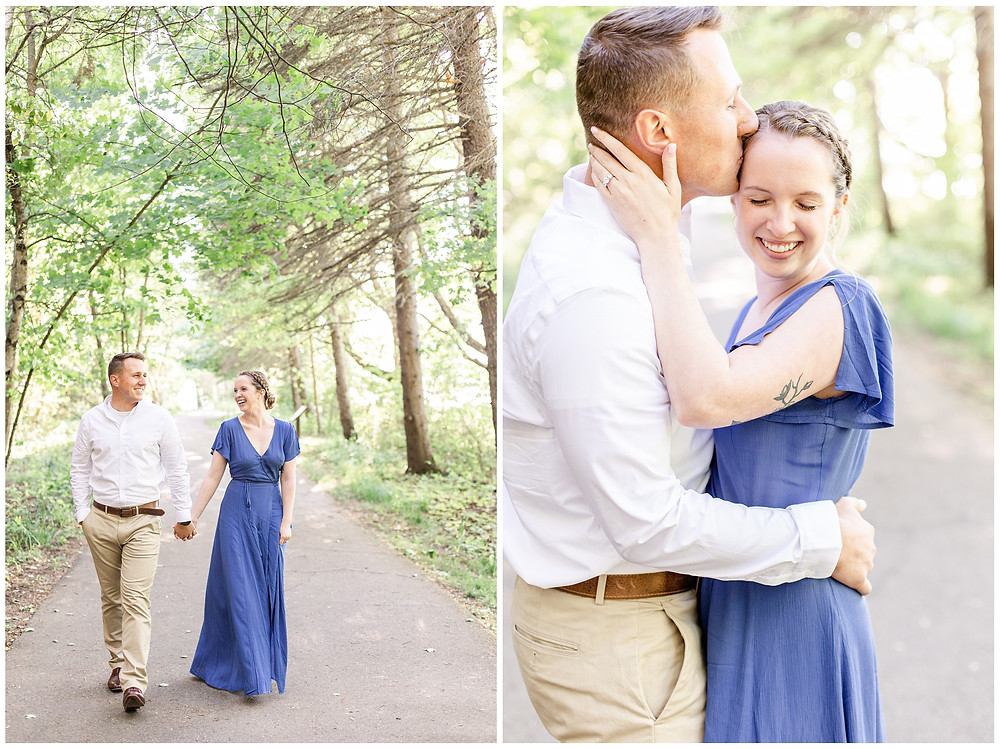 Josh and Andrea wedding photography husband and wife photographer team michigan pictures south haven engagement pictures session fields and woods photo shoot fiance walking laughing