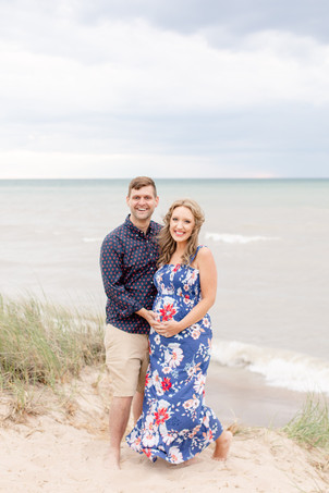 cute couple maternity photo on the beach Lake Michigan south haven family shoot