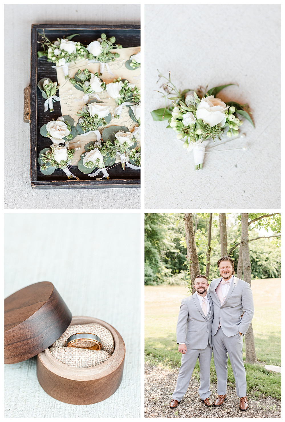 Josh and Andrea light airy joyful style wedding photography husband and wife photographer team michigan pictures photo shoot poses spring bride and groom White Oak Farm Venue florals rings