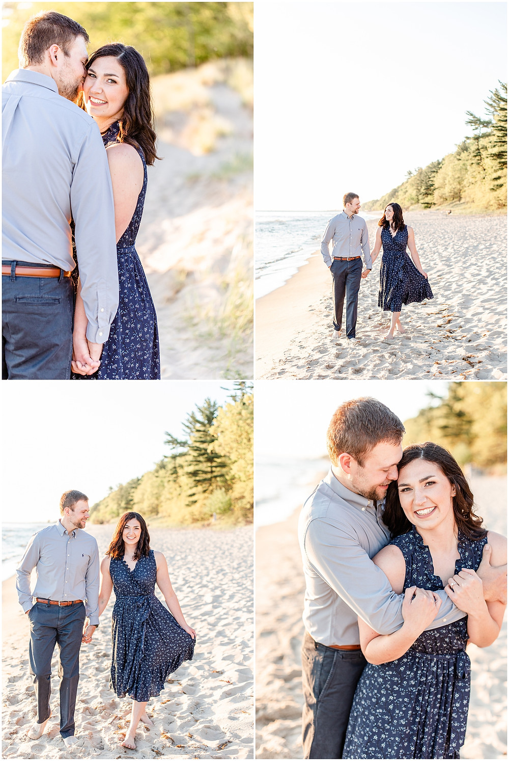 Josh and Andrea wedding photography husband and wife photographer team michigan pictures Lake Harbor Park engagement pictures session photo shoot fiance kissing walking beach