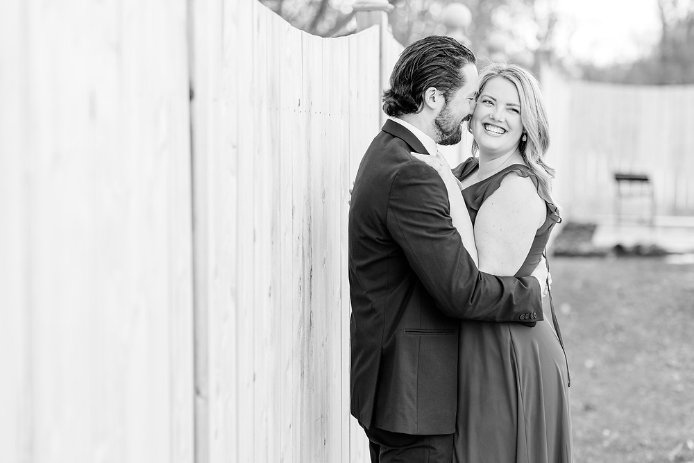 Josh and Andrea wedding photography husband and wife photographer team michigan Black Barn Wedding Venue Jackson winter engagement photo photos session fiance laughing smiling