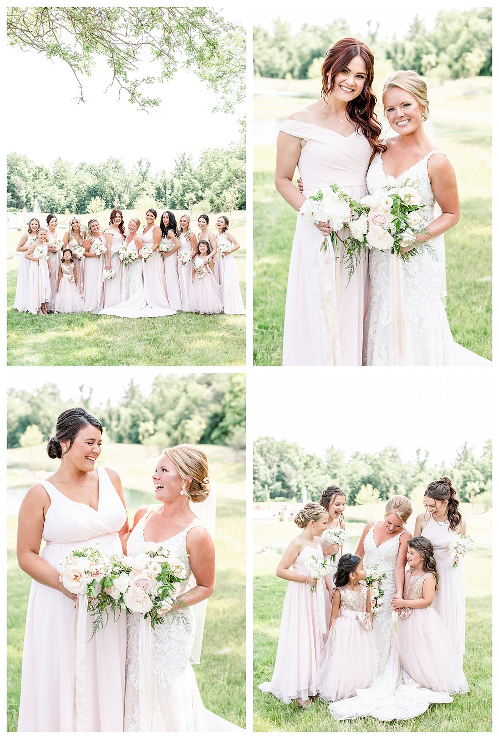 Josh and Andrea light airy joyful style wedding photography husband and wife photographer team michigan pictures photo shoot poses spring bride and groom White Oak Farm Venue bridesmaids