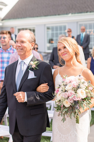bride and dad walking aisle ceremony Kent Country Club Wedding Grand Rapids