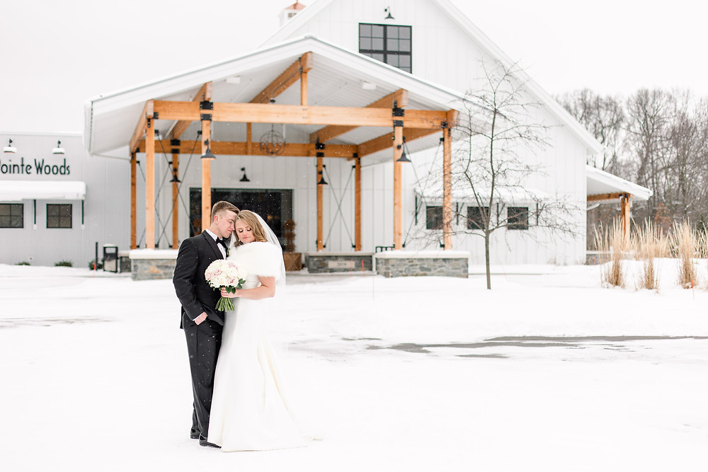Josh and Andrea wedding photography husband and wife photographer team michigan venue Bay Pointe Woods shelbyville snow winter wedding bride and groom