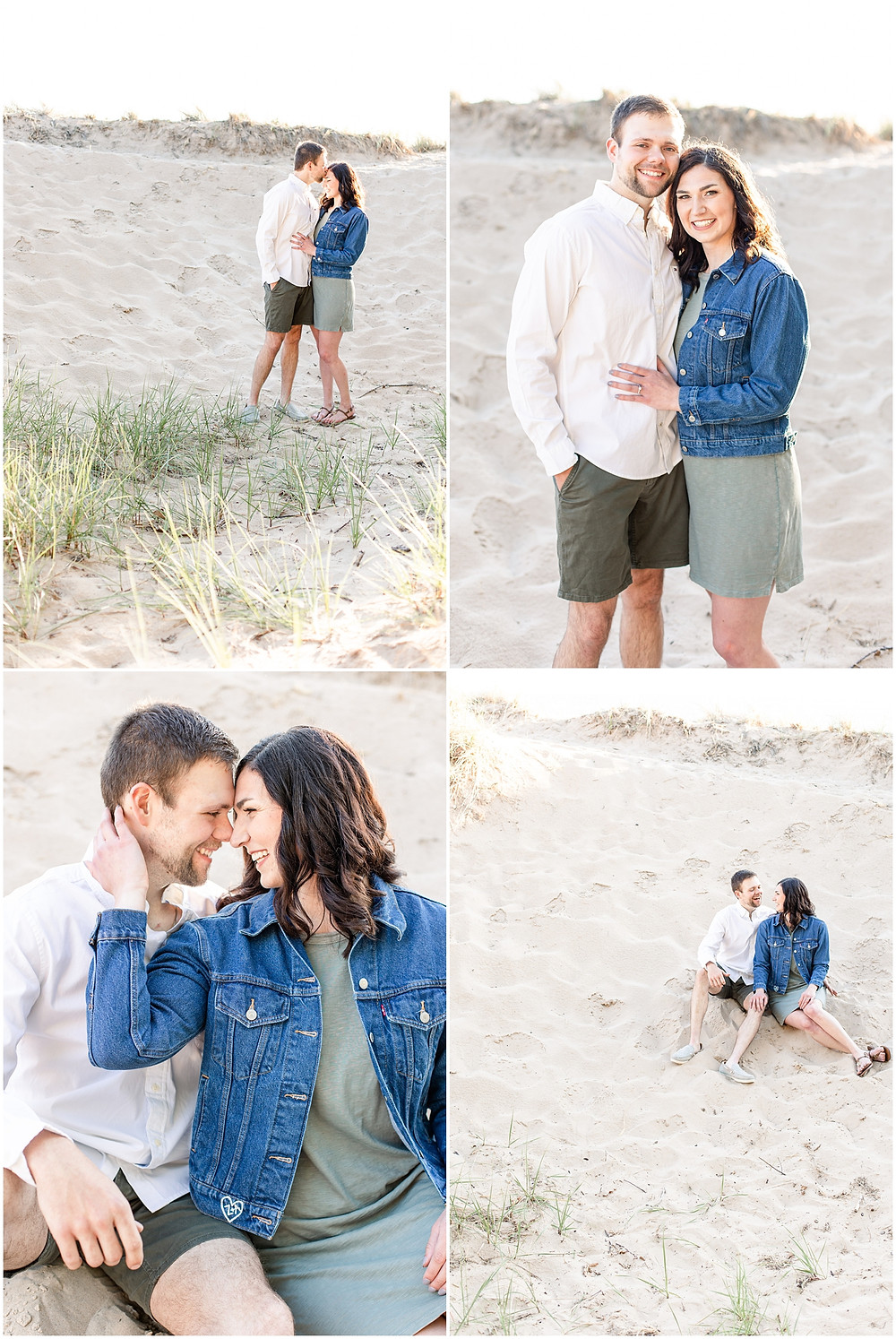 Josh and Andrea wedding photography husband and wife photographer team michigan pictures Lake Harbor Park engagement pictures session photo shoot fiance beach dunes sitting