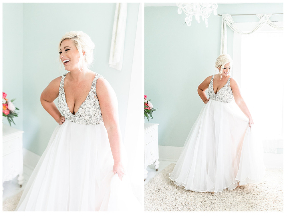 Josh and Andrea wedding photography husband and wife photographer team michigan pictures photo shoot Something Blueberry Wedding Barn farm spring bride dress