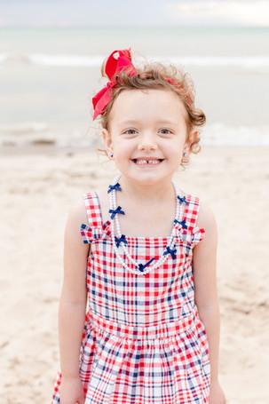 cute little girl on the beach Lake Michigan