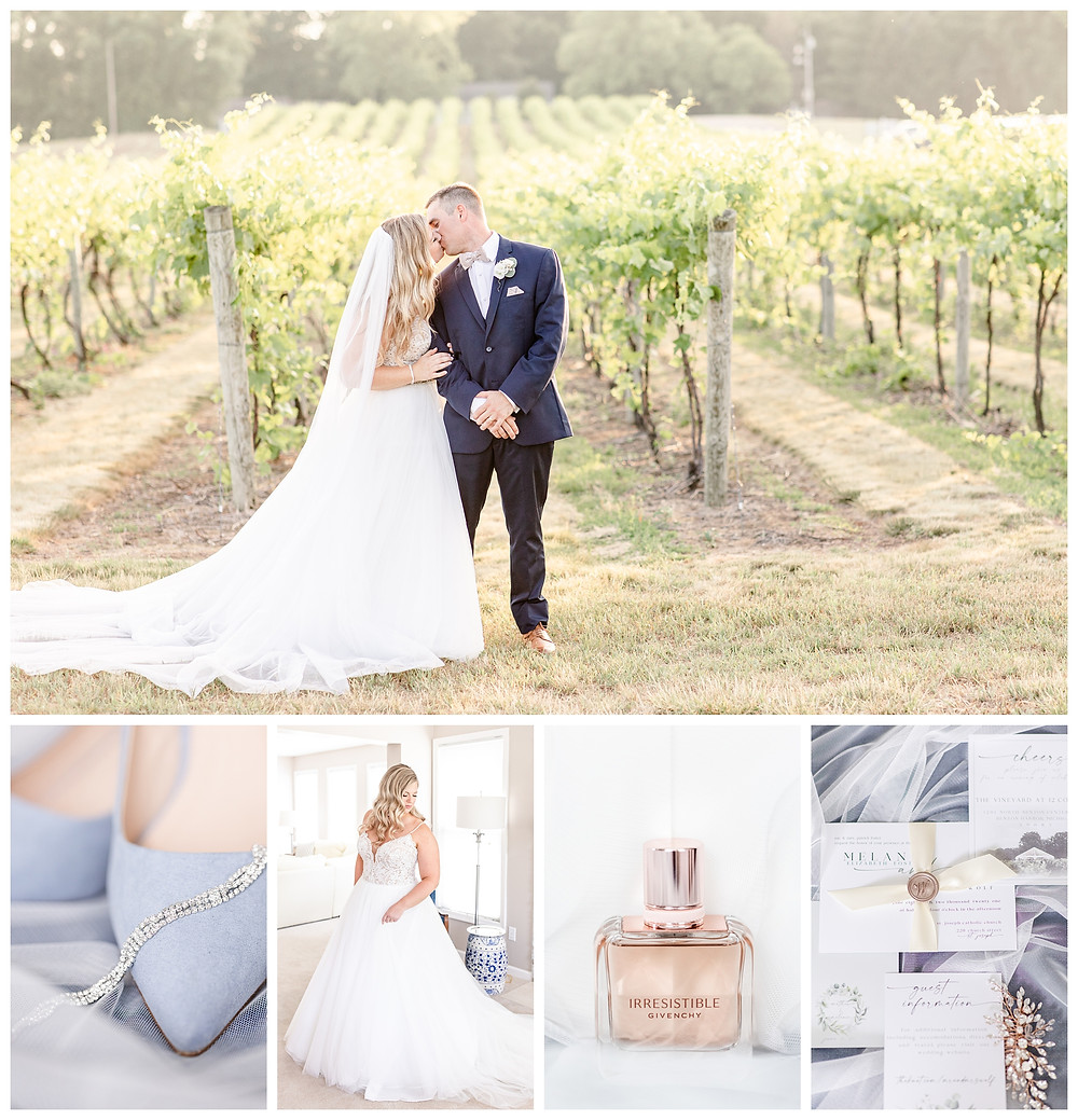 Josh and Andrea wedding photography husband and wife photographer team michigan pictures photo shoot Vineyard at 12 corners spring bride and groom white dahlia events kissing shoes