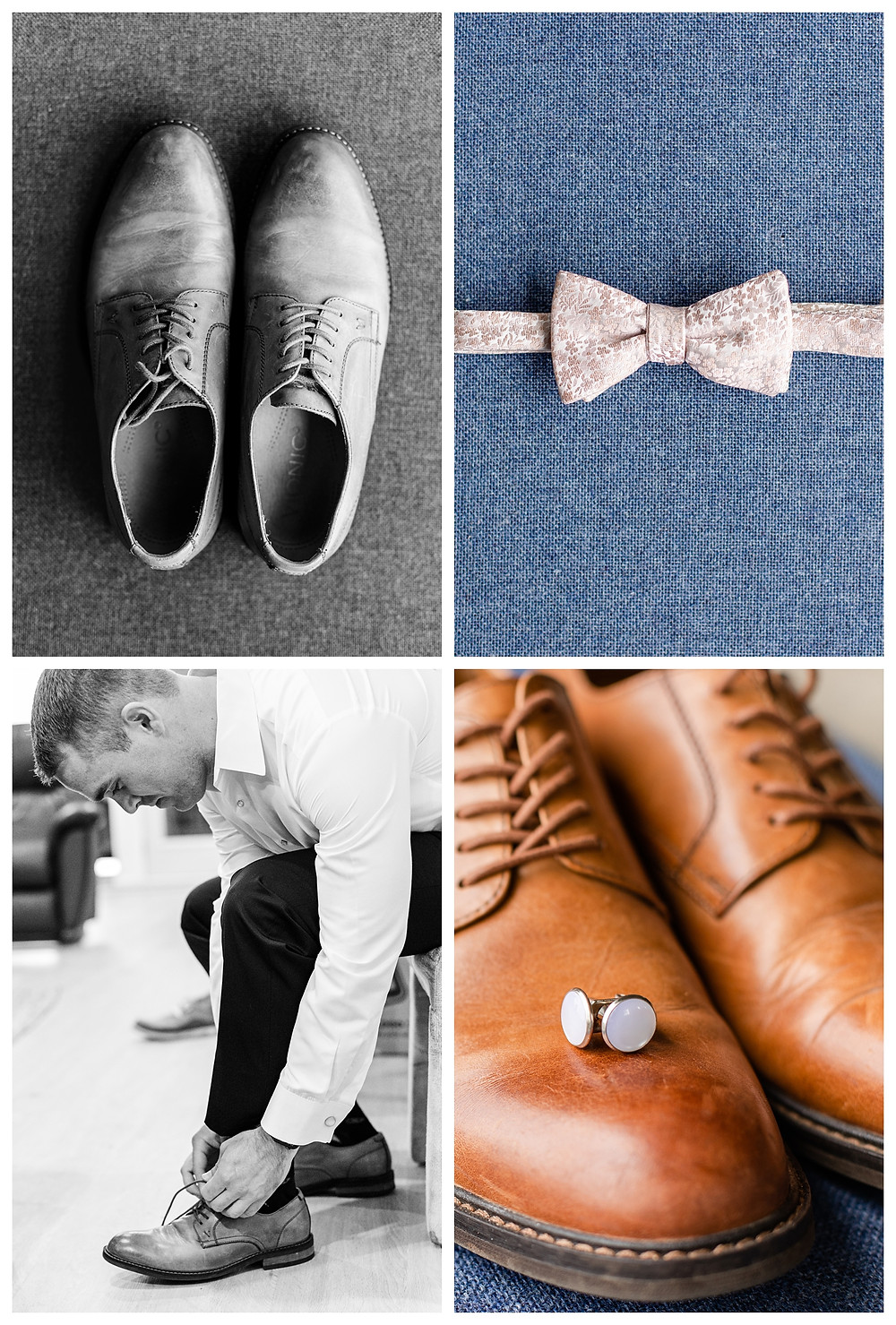 Josh and Andrea wedding photography husband and wife photographer team michigan pictures photo shoot Vineyard at 12 corners spring groom getting ready bowtie shoes