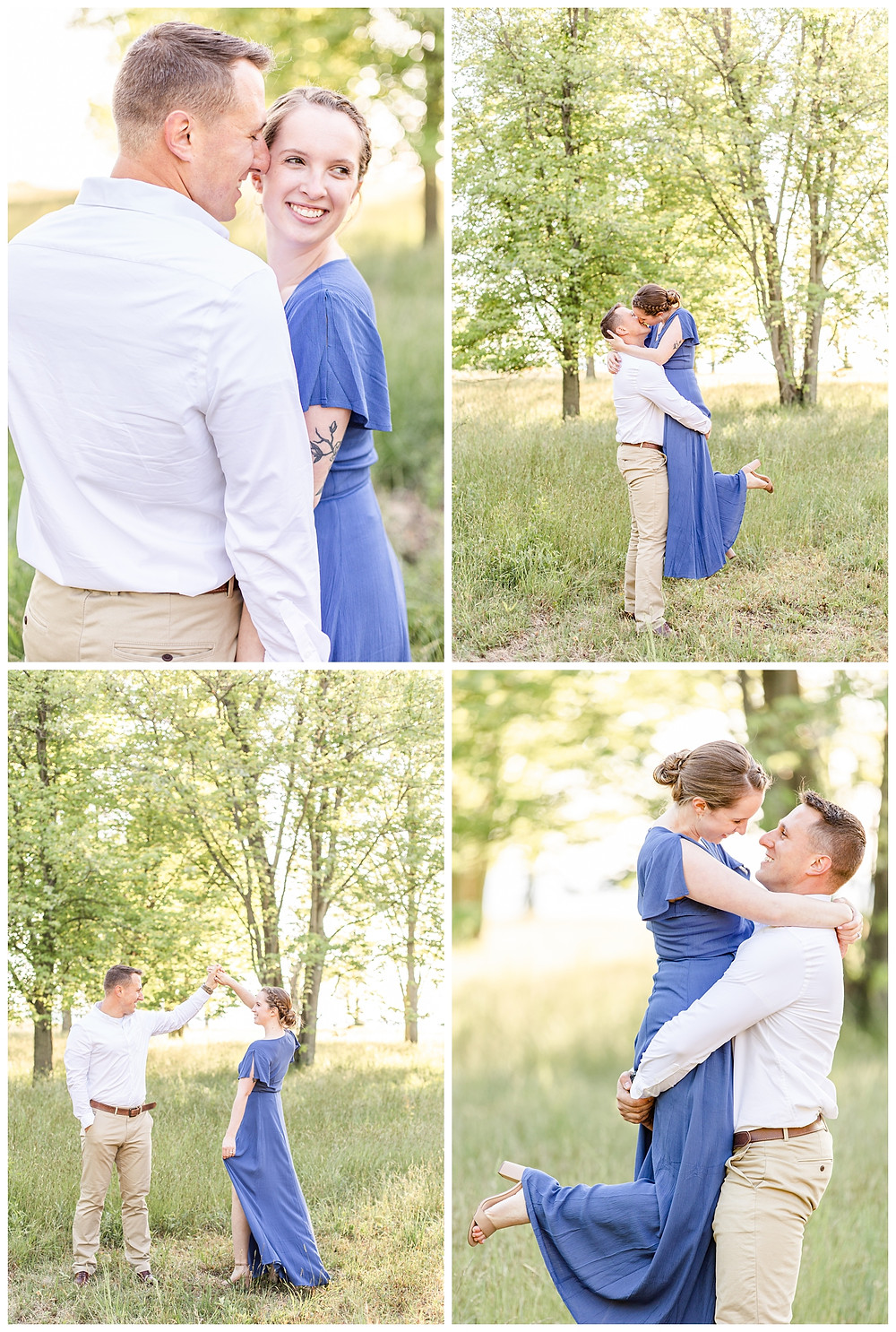 Josh and Andrea wedding photography husband and wife photographer team michigan pictures south haven engagement pictures session fields and woods photo shoot fiance kissing lift dancing