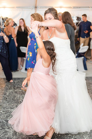 Bride and flower girl dancing wedding American 1 event center Jackson michigan
