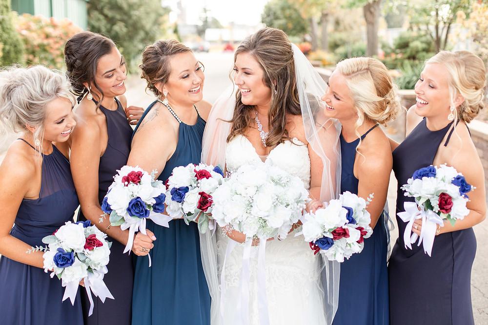 Bride and bridesmaids wedding American 1 event center Jackson michigan