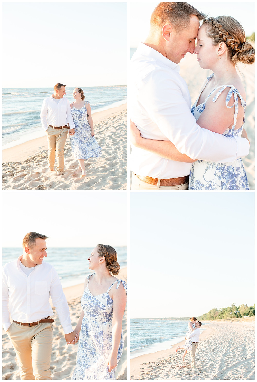 Josh and Andrea wedding photography husband and wife photographer team michigan pictures south haven engagement pictures session beach photo shoot fiance walking laughing lift