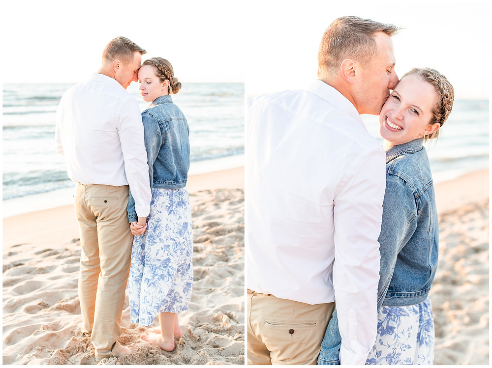 Josh and Andrea wedding photography husband and wife photographer team michigan pictures south haven engagement pictures session beach photo shoot fiance kissing