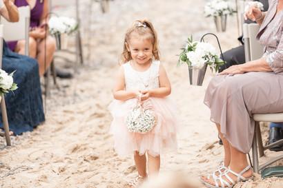 cute flower girl south haven beach wedding