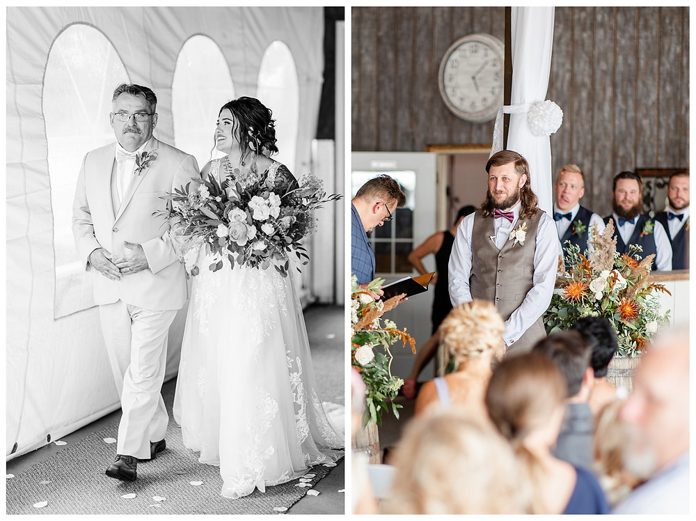 Josh and Andrea wedding photography husband and wife photographer team michigan pictures photo shoot farm barn spring bride and groom farm barn father of bride