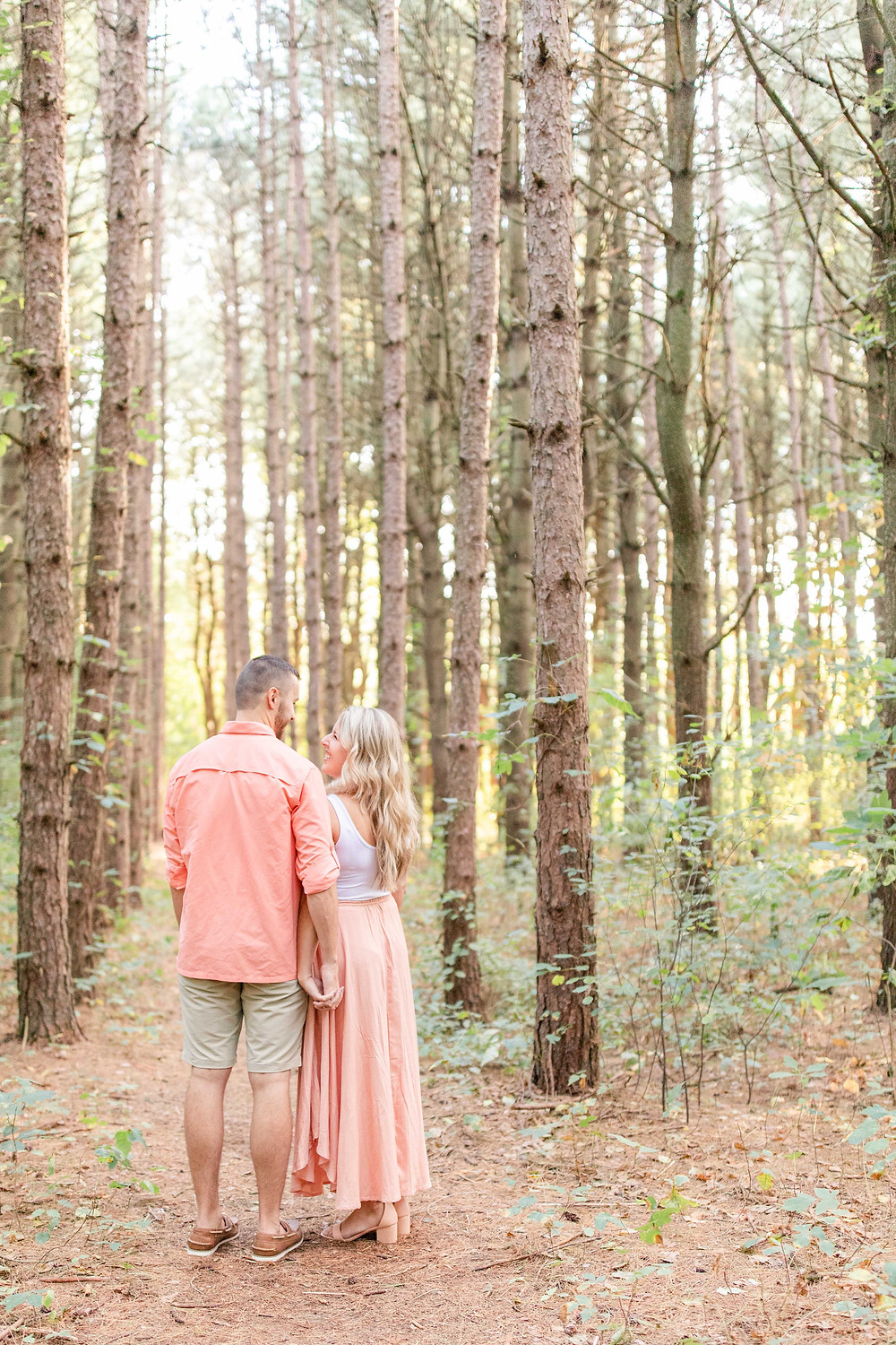 Engagement Photos Al Sabo Land Preserve Kalamazoo Michigan cute couple standing holding hands in Tall row of Pines