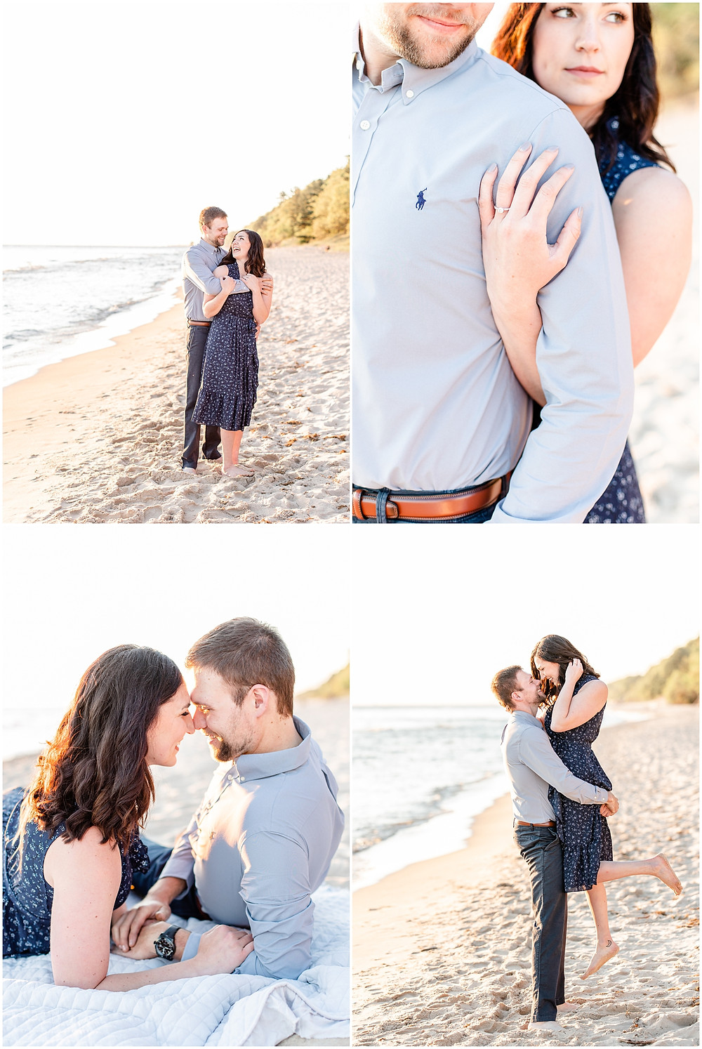 Josh and Andrea wedding photography husband and wife photographer team michigan pictures Lake Harbor Park engagement pictures session photo shoot fiance laughing standing lifting beach laying down