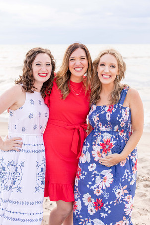 South Haven Family Shoot 3 adult sisters on the beach Lake Michigan Red White and Blue Outfits