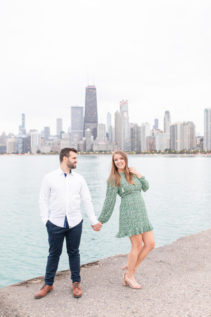 Josh and Andrea Photography Cute couple Chicago standing smiling