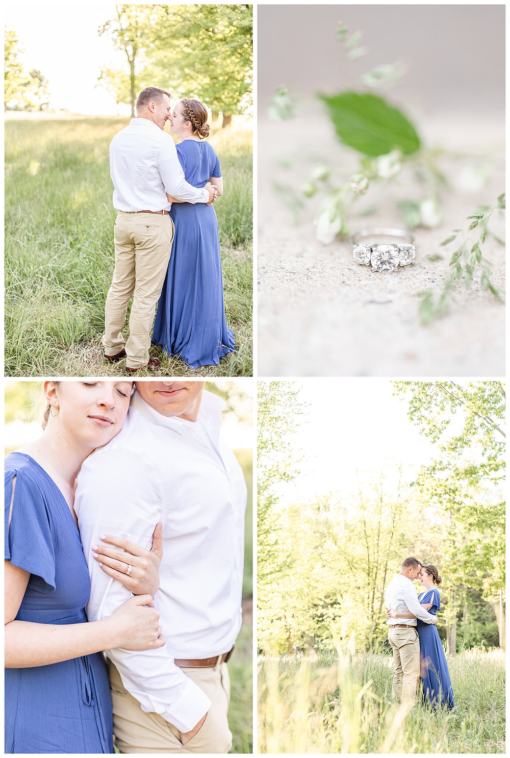 Josh and Andrea wedding photography husband and wife photographer team michigan pictures south haven engagement pictures session fields and woods photo shoot fiance ring shot standing hugging