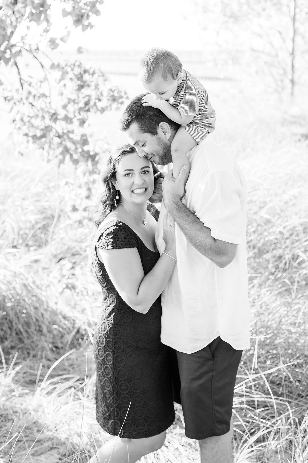 family of 3 photo session Silver Beach Saint Joseph Michigan baby on dad's shoulders