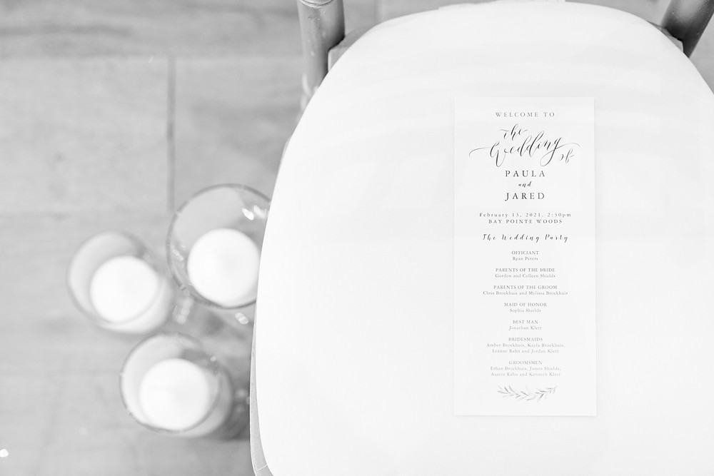 Josh and Andrea wedding photography husband and wife photographer team michigan venue Bay Pointe Woods shelbyville winter wedding invitation
