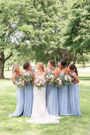 bride and bridesmaids Kent Country Club Wedding Grand Rapids