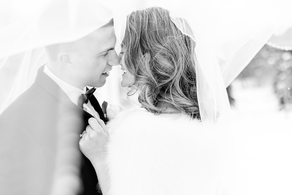 Josh and Andrea wedding photography husband and wife photographer team michigan venue Bay Pointe Woods shelbyville snow winter wedding bride and groom kissing veil