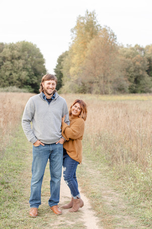Engagement Photos Al Sabo Land Preserve Kalamazoo Michigan Open Field pathway trail cute couple