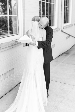 first look with dad hugging Kent Country Club Wedding Grand Rapids
