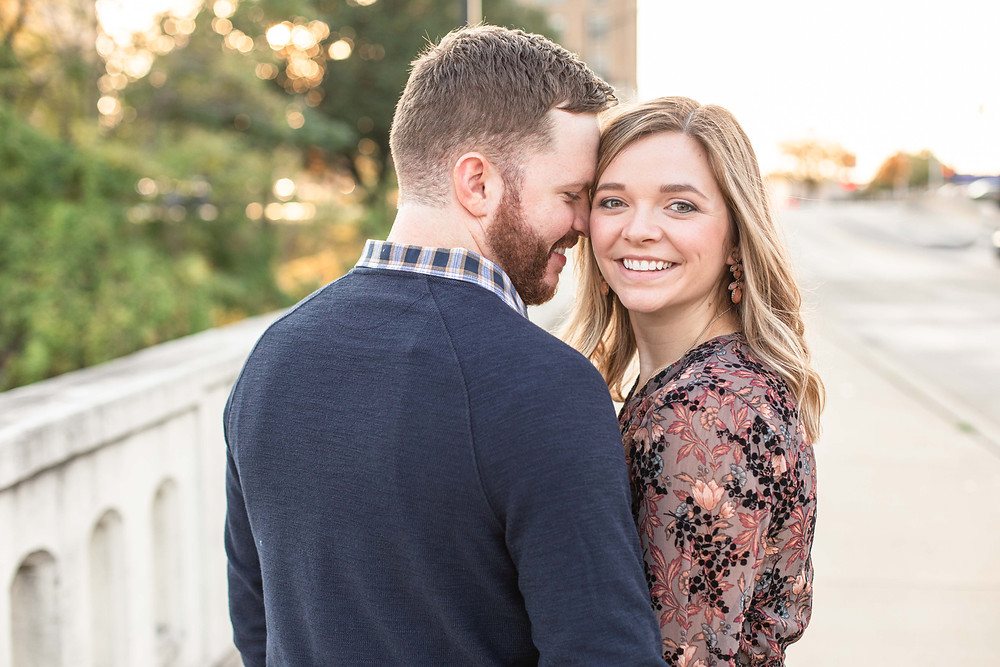 Josh and Andrea photography engagement photos south bend Indiana cute couple smiling