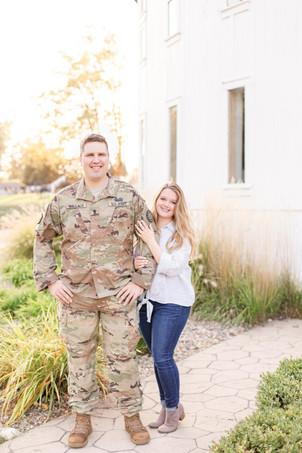 Engagement photos Round Barn Winery Baroda Michigan army uniform cute couple