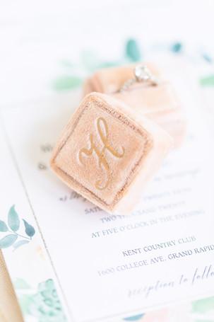pale pink ring box macro photo Kent Country Club Wedding Grand Rapids