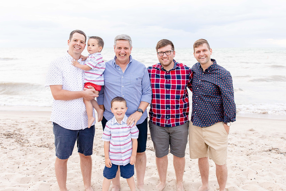 South Haven Family Shoot Dads and sons photo on the beach Lake Michigan Red White and Blue Outfits