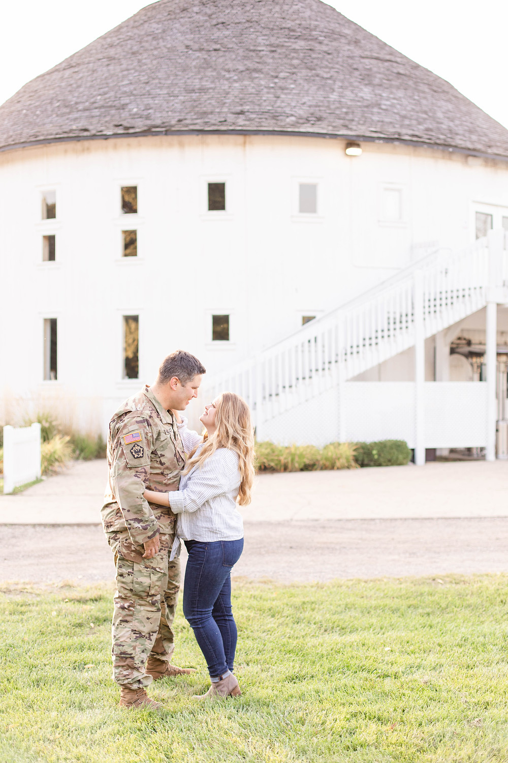 Engagement photos Round Barn Winery Baroda Michigan army uniform cute couple