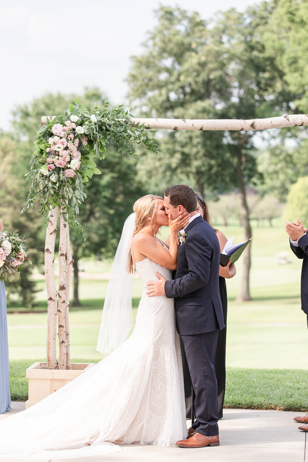 the first kiss ceremony Kent Country Club Wedding Grand Rapids