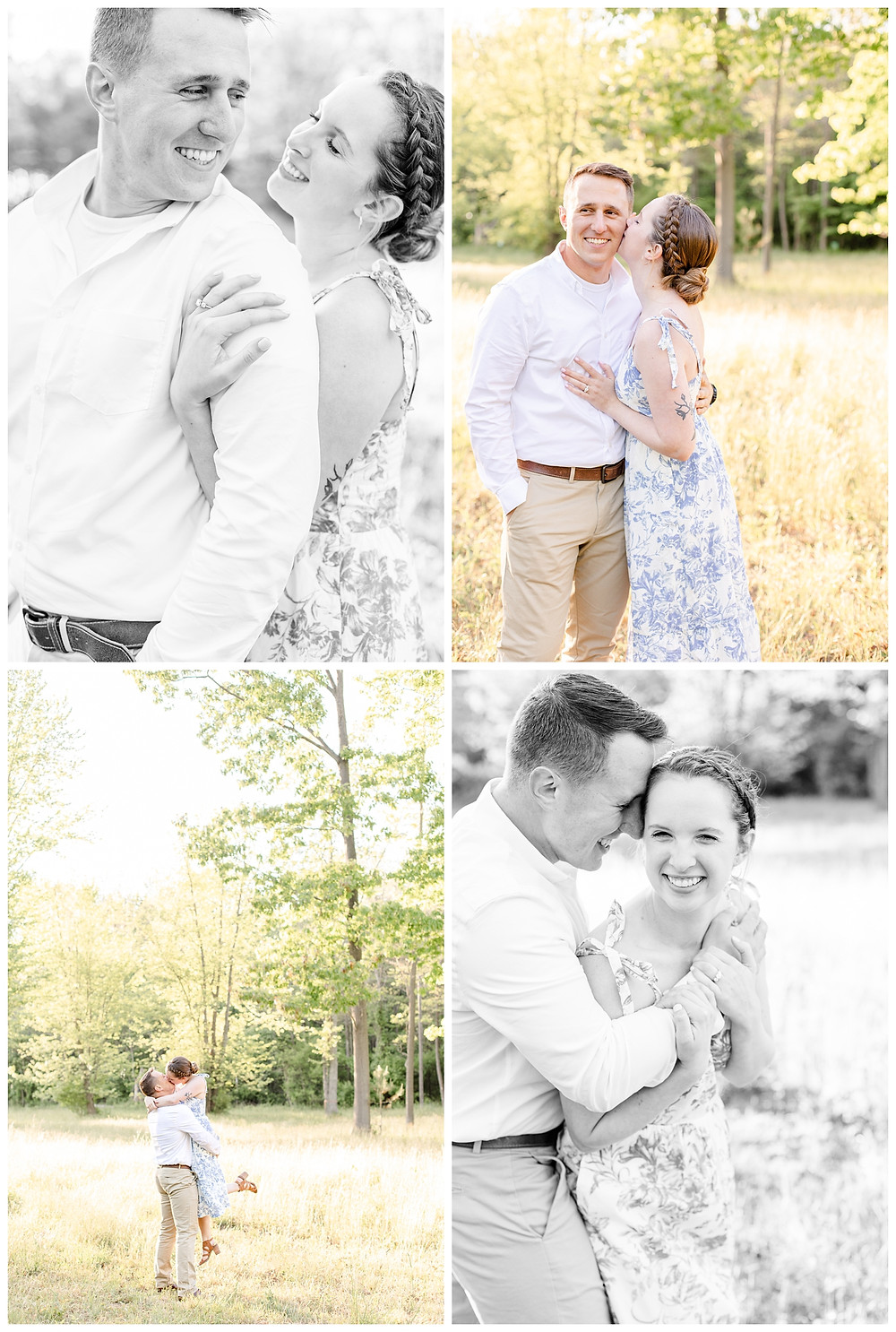 Josh and Andrea wedding photography husband and wife photographer team michigan pictures south haven engagement pictures session fields and woods photo shoot fiance kissing lift laughing