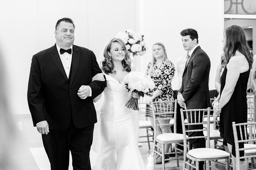 Josh and Andrea wedding photography husband and wife photographer team michigan venue Bay Pointe Woods shelbyville winter wedding ceremony bride father of bride