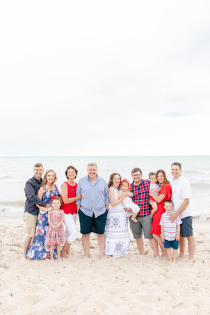 South Haven Family Shoot Extended Family Photo on Lake Michigan Red White and Blue Colors