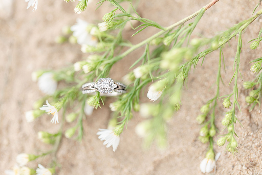 Engagement Ring on ground and greenery Al Sabo Land Preserve Kalamazoo Michigan