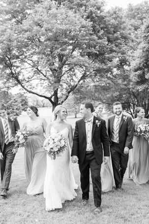 bridal party walking Kent Country Club Wedding Grand Rapids