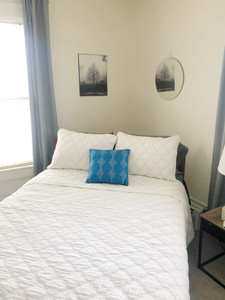 Home bedroom decorations with blue accents