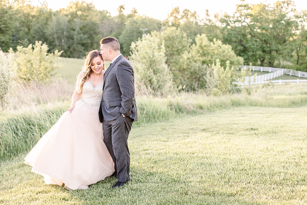 Josh and Andrea wedding photography husband and wife photographer team michigan pictures hydrangea blu barn bride and groom sunset
